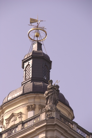 cupper: A wind indicator on the roof of the historical university in Wroclaw in Poland