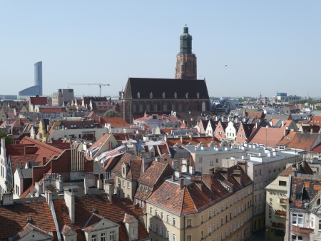 View at the city Wroclaw in Poland seen from the roof of the university photo