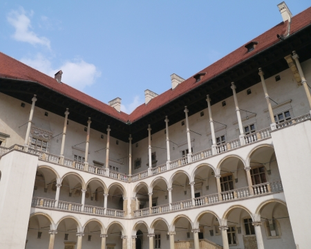 The courtyard of the royal castle on the Wawel hill in Krakow in Poland