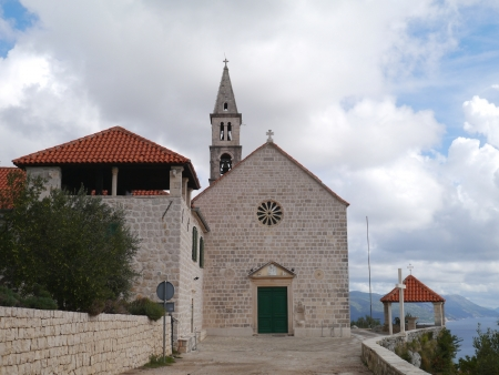 franciscan: The Franciscan church on the hill above Orebic on the peninsula Peljesac in Croatia