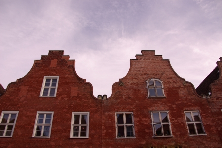 Historic houses in the Dutch district in Potsdam in Germany photo