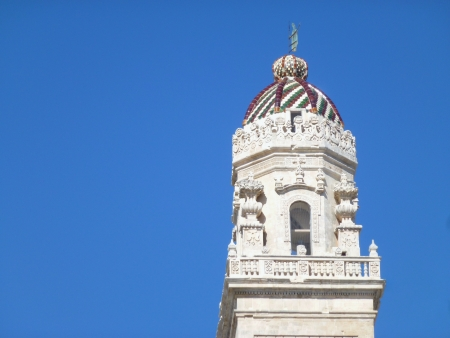 majolica: The bell tower of the cathedral with the majolica roof in Lecce in Italy