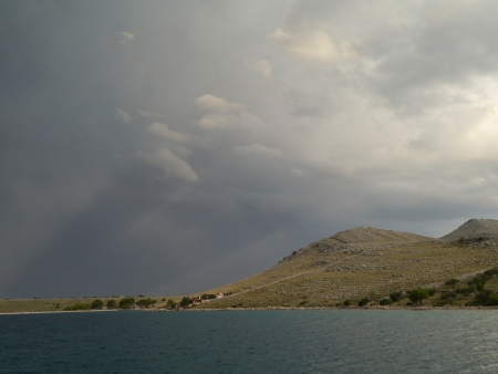 kornat: Thunder clouds above Kornat in Croatia Stock Photo