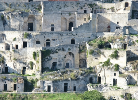 troglodyte: A view on the historic city Matera with the rupestrian churches ands houses in Basilicata in Italy Stock Photo