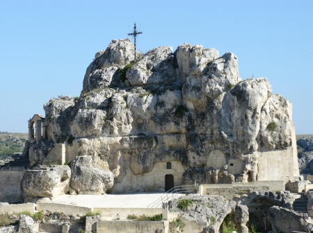 The Madonna de Idris rock church in Matera in Basilicata in the south of Italy Stock Photo - 16257954