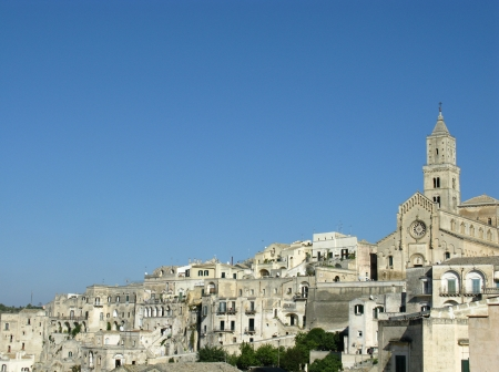sassi: A view on the historic city Matera with the rupestrian churches ands houses in Basilicata in Italy Stock Photo