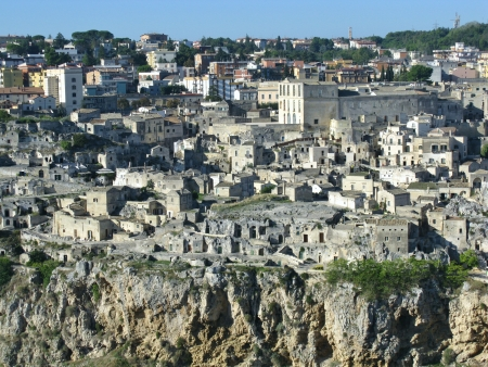 A view on the historic city Matera with the Canyon of Matera  in Basilicata in Italy Stock Photo - 16257979
