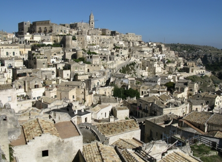 A view on the historic city Matera with the rupestrian churches ands houses in Basilicata in Italy Stock Photo - 16258011