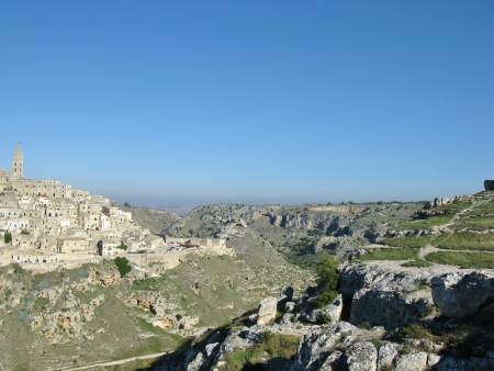 rupestrian: A view on the historic city Matera with the Canyon of Matera  in Basilicata in Italy Stock Photo