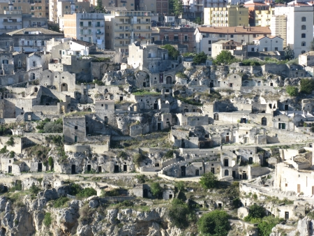 A view on the historic city Matera with the rupestrian churches ands houses in Basilicata in Italy photo