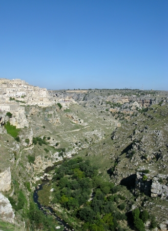 A view on the historic city Matera with the Canyon of Matera  in Basilicata in Italy Stock Photo - 16258012
