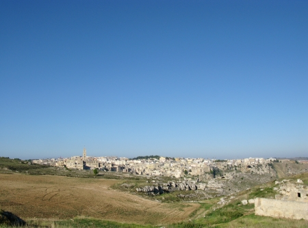 A view on the historic city Matera with the Canyon of Matera  in Basilicata in Italy Stock Photo - 16257981