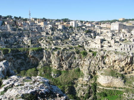 troglodyte: A view on the historic city Matera with the Canyon of Matera  in Basilicata in Italy Stock Photo