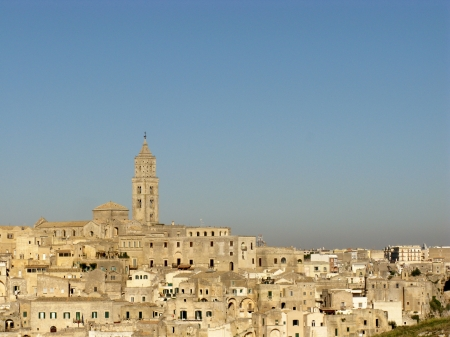 rupestrian: A view on the historic city Matera with the rupestrian churches ands houses in Basilicata in Italy Stock Photo