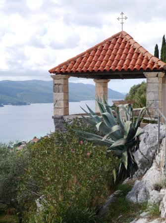 franciscan: A detail of the Franciscan church on the hill above Orebic on the peninsula Peljesac in Croatia