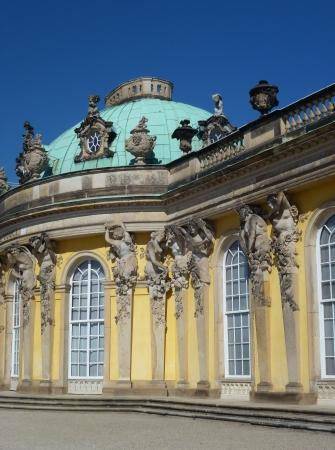 South or garden facade of the summer palace in the sanssouci royal park in Potsdam in Germany