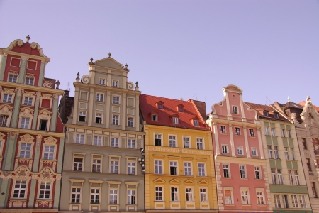fronts: Historic houses on the market  rynek  of Wroclaw in Poland Stock Photo