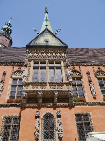 rynek: A detail of the historic city hall on the rynek  market  in Wroclaw in Poland Stock Photo