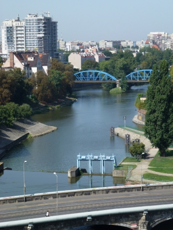 The river Odra in Wroclaw in Poland photo