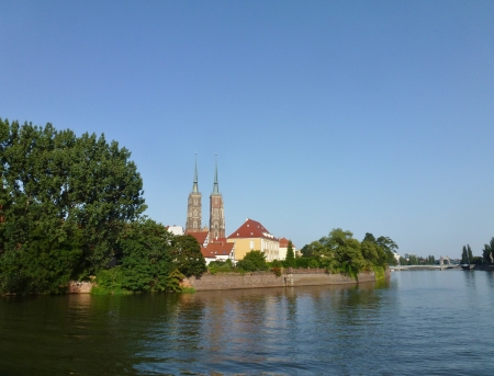 The cathedral of St John the Baptist on the river Oder in Wroclaw in Poland photo