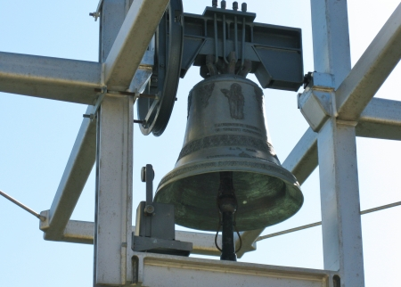 One of the bells of the church of saint Pio from Pietrelcina in San Giovanni rotondo in Apulia in Italy Editorial