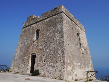 corbel: One of the towers of defense at the coast of the peninsula Gargano in Italy
