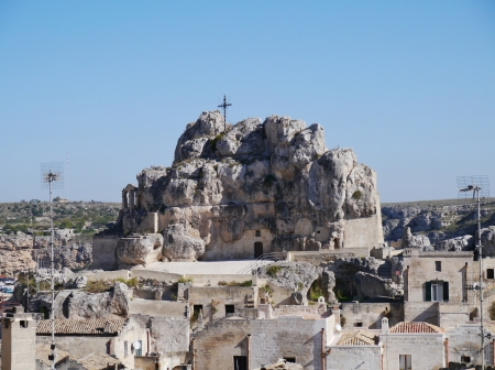 troglodyte: The Madonna de Idris rock church in Matera in Basilicata in the south of Italy