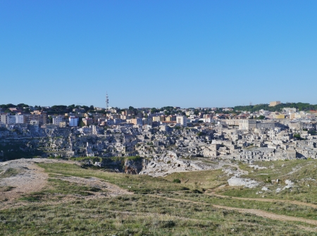 rupestrian: A view at houses in the Sassi the historic center of the city Matera in Basilicata in Italy