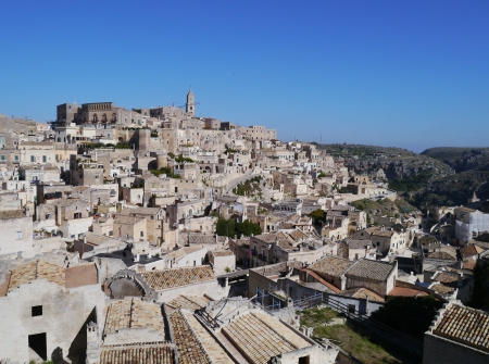 A view at houses in the Sassi the historic center of the city Matera in Basilicata in Italy Stock Photo - 16656330
