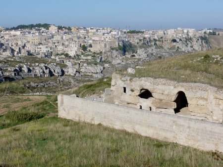 rupestrian: A rupestrian church in the rocks near Matera in Basilicata in the south of Italy