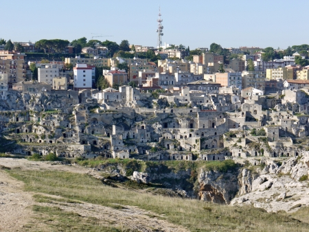 sassi: A view on the historic city Matera with the Canyon of Matera  in Basilicata in Italy Stock Photo
