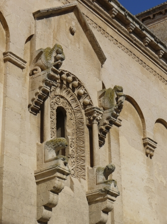 sassi: A detail of the cathedral of Mantera in Basilicata in the south of Italy Stock Photo
