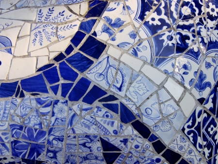 A mosaic of Delft blue porcelain Stock Photo
