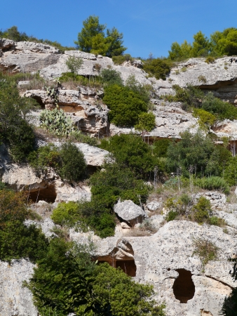 scala: Rock settlements from the Neolithic in Massfra in Italy