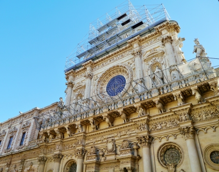A detail of the church of the holy cross  Basilica Santa Croce  in Lecce in Italy photo