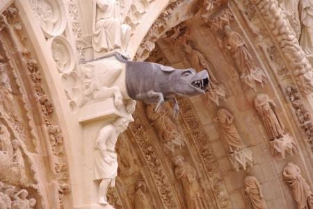Un gargoyle di La cattedrale della citt� francese di Reims in Francia Archivio Fotografico - 16851459