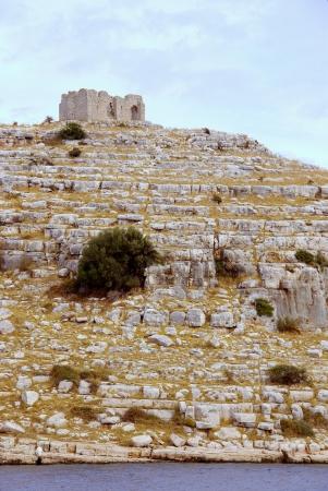 kornat: A ruin of a roman castle on the island Kornat in Croatia Stock Photo