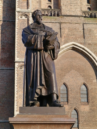 jurist: Statue of Hugo Grotius a poet and jurist in the Dutch history