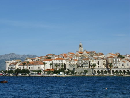 saint mark's: Panoramic view at Korcula city in Croatia with the tower of the St Marco cathedral Stock Photo