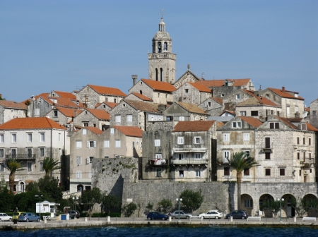 Panoramic view at Korcula city in Croatia with the tower of the St Marco cathedral photo