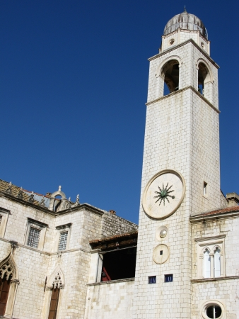 baro: The city bell tower with a figured time indicator  in Dubrovnik in Croatia