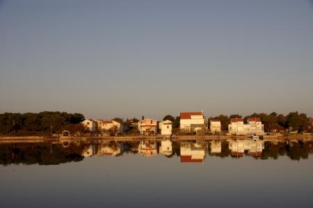 betina: The village Betina at Murter in Croatia in evening light Stock Photo