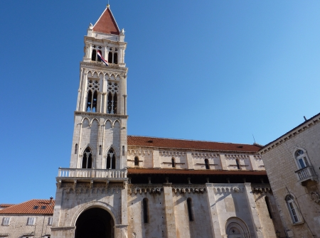 lawrence: The roman cathedral of St Lawrence in the historic city Trogir at the Adriatic sea in Croatia Stock Photo