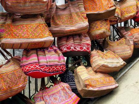 Handicraft bags on a market in Vietnam Stock Photo