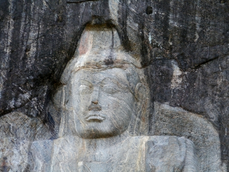 A detail of the rock sculptures in Burduruwagale a complex of buddhist temples near wellawaya in Sri Lanka photo