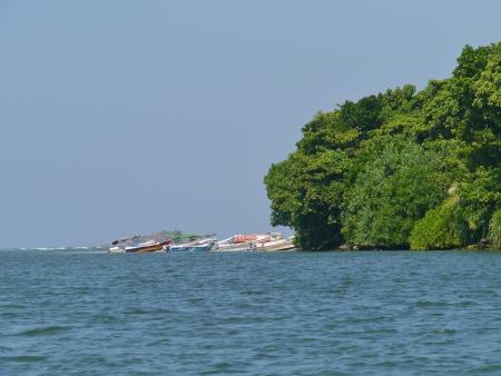 Colorful motor fishing boats on the beach in Sri Lanka Stock Photo - 17816405