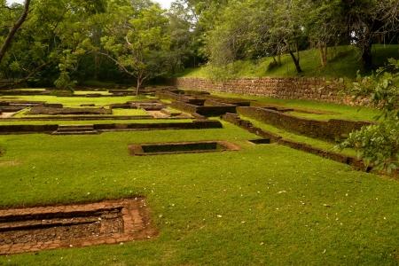 The water garden with its rocks around Sigiriya  Lion's rock  in Sri Lanka Stock Photo - 17988601