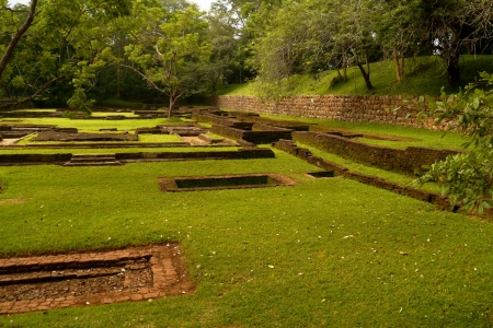 The water garden with its rocks around Sigiriya  Lion�s rock  in Sri Lanka Stock Photo - 17988601