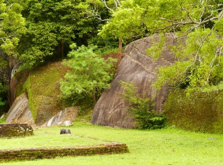 The water garden with its rocks around Sigiriya  Lion's rock  in Sri Lanka Stock Photo - 18007695