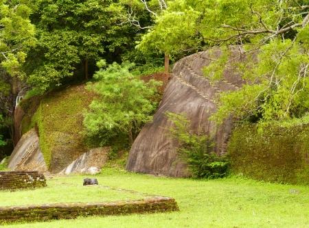 The water garden with its rocks around Sigiriya  Lion's rock  in Sri Lanka Stock Photo - 18007695